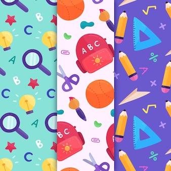 Design plat retour au pack de motifs scolaires