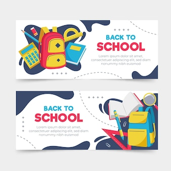Design plat retour aux bannières de l'école