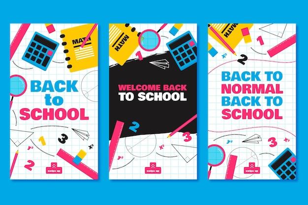 Design plat retour aux histoires instagram de l'école