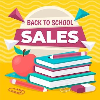 Design plat retour aux ventes de fournitures scolaires
