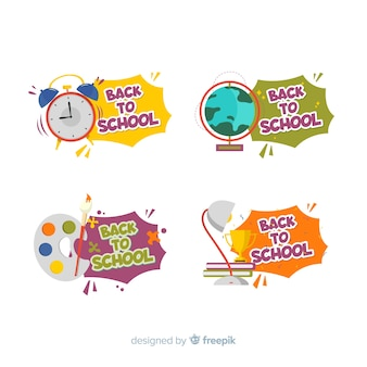 Design plat retour à la collection de badges d'école