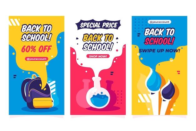 Design plat retour à la collection d'histoires instagram de l'école