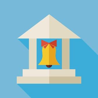 Design plat retour à l'illustration du bâtiment scolaire avec ombre portée. retour à l'école et l'éducation illustration vectorielle. école colorée de style plat avec cloche d'école. apprendre et étudier.