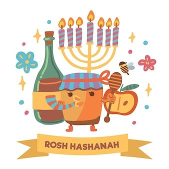 Design plat rosh hashanah party miel