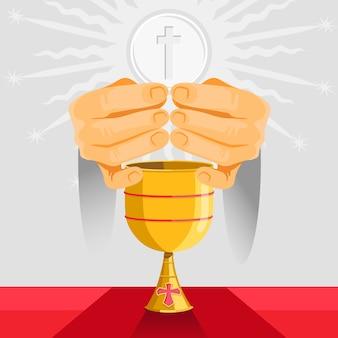 Design plat semaine sainte et gobelet doré