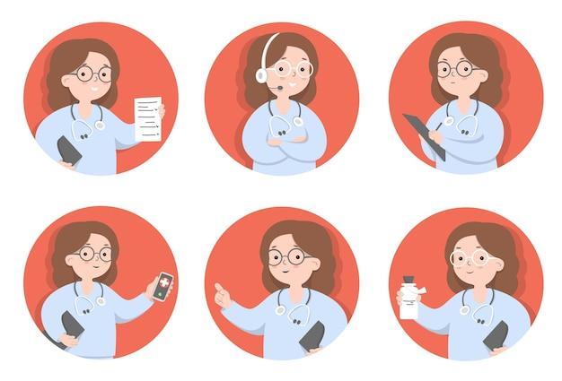 Design plat sertie de femme médecin dans différentes poses