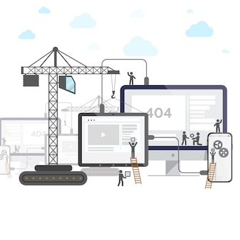Design plat de site web en construction.