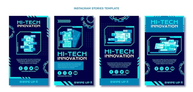 Design plat, technologie minimale, histoires ig