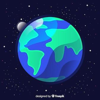 Design plat de la terre dans l'espace