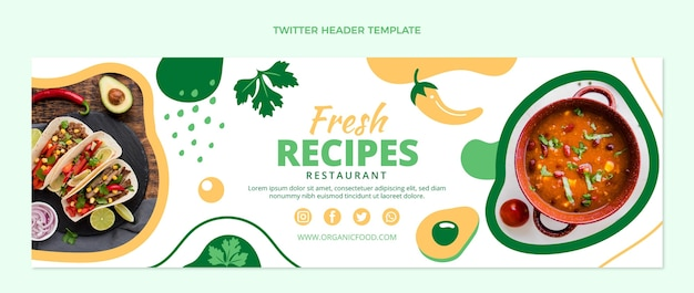 Design plat de l'en-tête twitter alimentaire