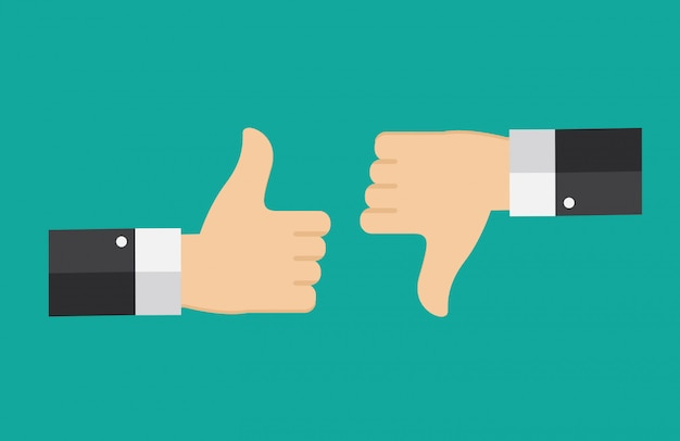 Design plat thumbs up et down background.
