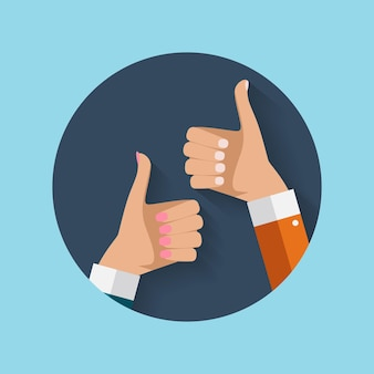 Design plat thumbs up icon background. illustration vectorielle eps10