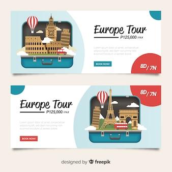 Design plat de valise ouverte bannière de voyage