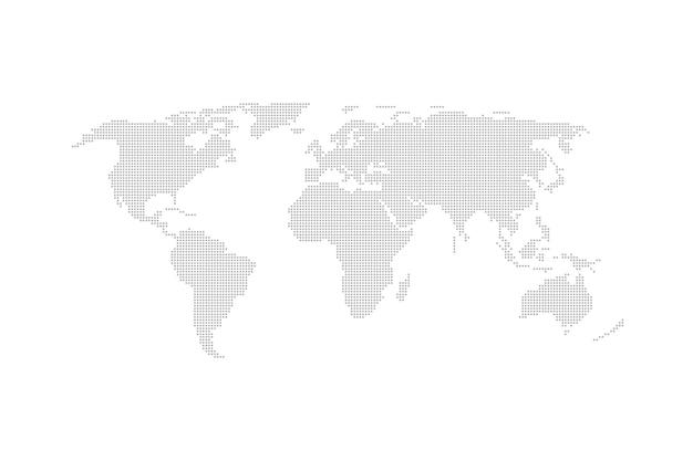 Design plat de vecteur de carte du monde en pointillé gris.