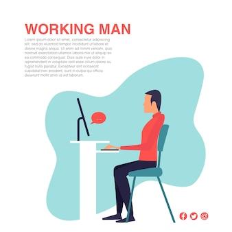 Design plat de vecteur de travail homme
