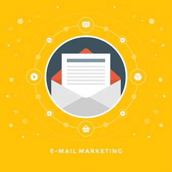 Design plat vectoriel illustration concept commercial marketing par e-mail
