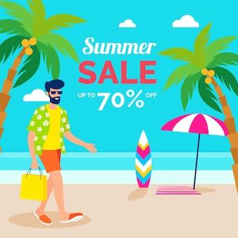 Design plat de vente d'été avec remise