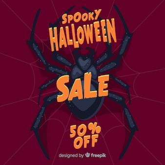 Design plat de vente d'halloween avec araignée géante