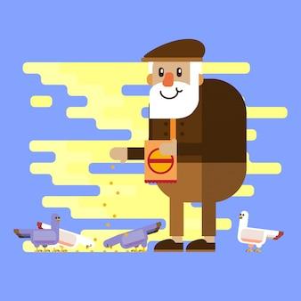 Design plat vieil homme nourrir des pigeons