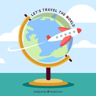 Design plat voyageant dans le monde globe arrière-plan