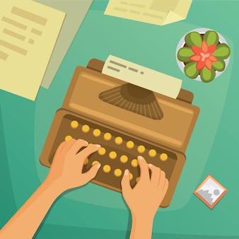 Design plat vue de dessus sur le concept de bureau design writing