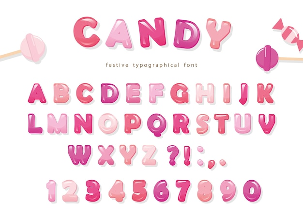 Design de polices brillantes candy.