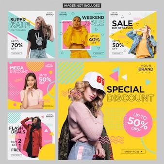 Design de publication sur les réseaux sociaux fashion memphis