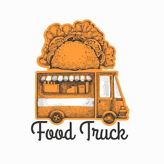 Design rétro de camion tacos de style gravé.
