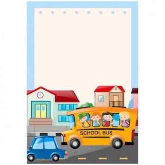 Design school bus de fond