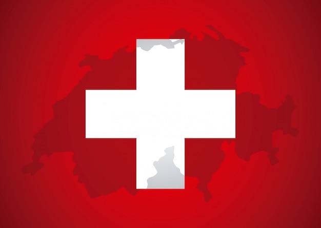 Design suisse sur illustration vectorielle fond rouge