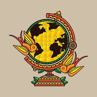 Design tatouage globe traditionnel