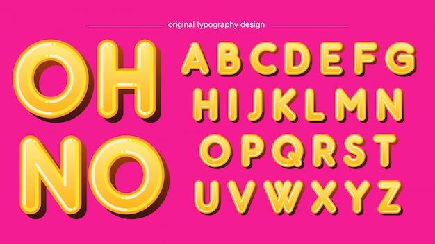 Design de typographie jaune arrondi gras