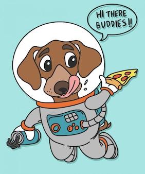 Design de vecteur de chien espace dessiné à la main pour l'impression de t-shirt