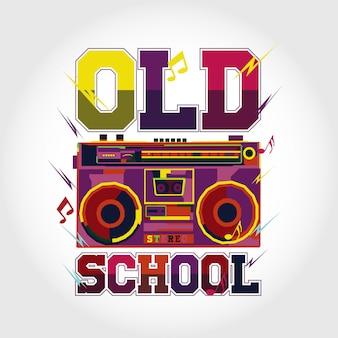 Design de vecteur de musique coloré old school