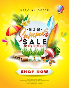 Design de vente d'été avec fleur