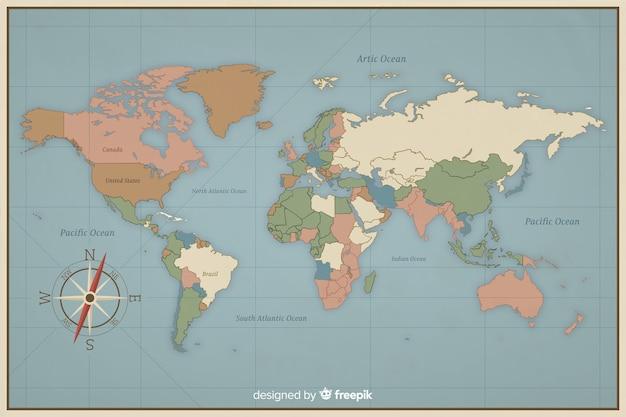 Design vintage coloré pour la carte du monde