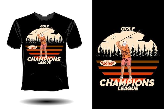 Design vintage rétro de la ligue des champions de golf