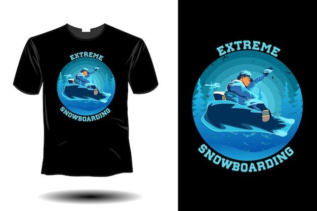 Design vintage rétro de snowboard extrême