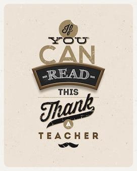Design vintage typographique - citation sur un enseignant