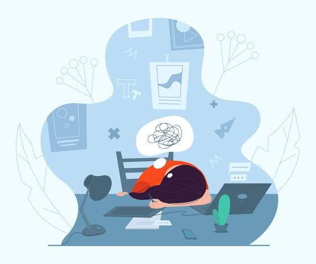Designer féminine en crise créative, illustration vectorielle. anxiété, fatigue, maux de tête, dépression, burn-out.