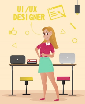 Designer femme en chemisier rose et jupe verte.