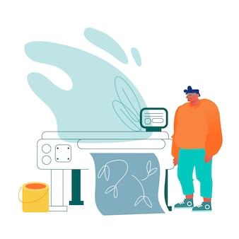 Designer travaille avec un traceur ou une imprimante laser à écran large produisant une production de bannière ou polygraphique dans une imprimerie.