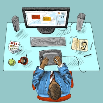 Designer work place tools with man sitting on table top view croquis coloré illustration vectorielle
