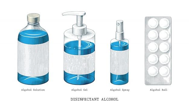 Désinfectant alcool mis part dessiner clipart de style vintage isolé