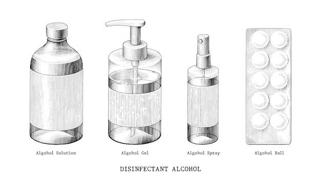Désinfectant alcool set main dessiner style vintage noir et blanc clipart isolé