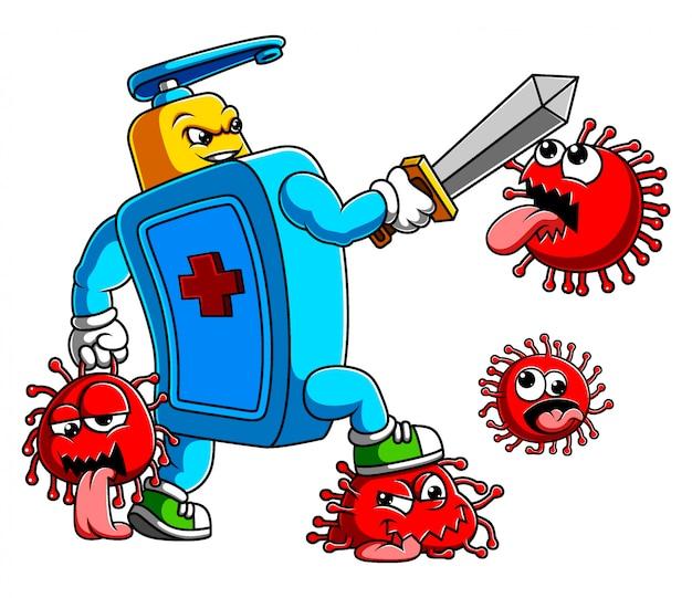 Désinfectant pour les mains avec combat à l'épée coronavirus covid 19