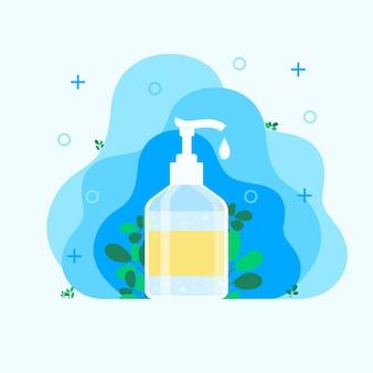 Désinfectant pour les mains, désinfectant, savon pour les mains, traitement des bactéries et des germes pour les mains, bouteille isotherme avec dégraissant pour les mains. illustration vectorielle