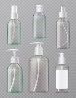 Désinfectant pour les mains, presse acrylique transparente et flacons pulvérisateurs pour distributeurs d'aérosols, ensemble réaliste