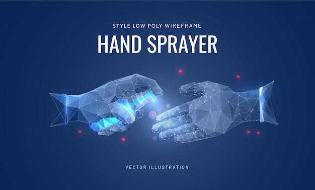 Désinfectant vaporise les mains. concept de désinfection, prévention des virus.