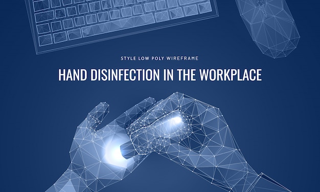 Désinfectant à vaporiser sur les mains concept de lieu de travail et de mains propre.